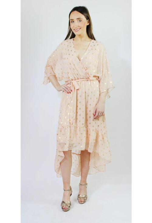 Pamela Scott Peach & Gold Metallic Spot Print Dress
