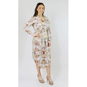 500ac738a2 Pamela Scott Cream Rope   Floral Pattern Print Collar Dress