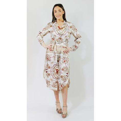 Pamela Scott Cream Rope & Floral Pattern Print Collar Dress