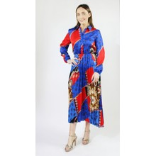 Pamela Scott Royal Blue & Red Pleat Dress