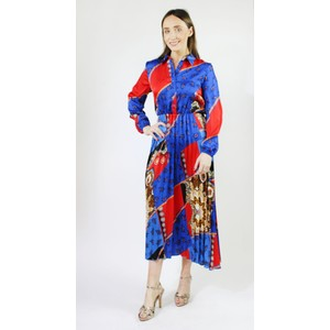 78cdb4fe775 Pamela Scott Royal Blue   Red Pleat Dress