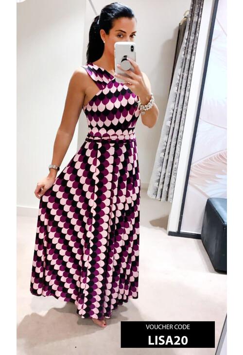 Emme Purple & Black Pattern Print Long Dress