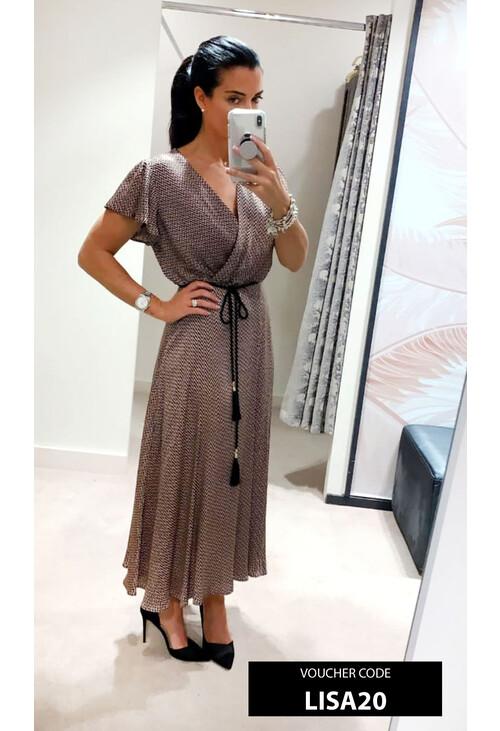 Marella Pink & Black Zig Zag Belt Detail Dress