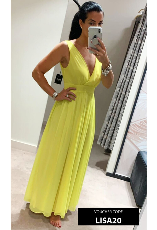 Emme Acid Yellow Sleeveless Mesh Dress