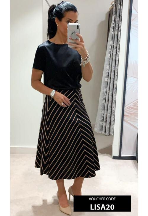 Marella Black Vest & Abstract Strip Skirt