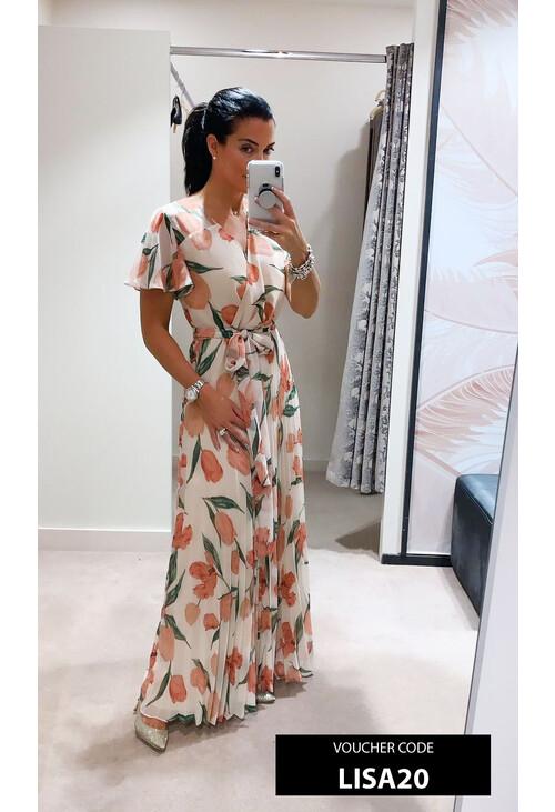 Marella Beige & Off White Floral Print Dress