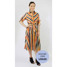 Pamela Scott Multi-colour Stripe Collar Dress