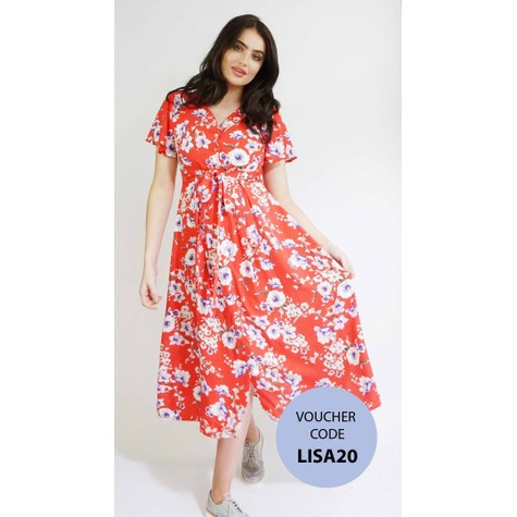 Zapara Red Floral Print Long Button Dress