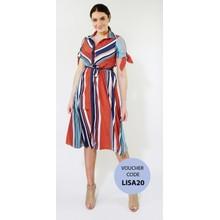 Kilky Paris Navy & Orange Strip Long Button Dress