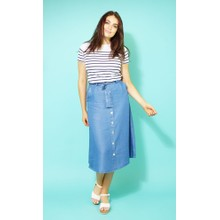 Twist Fine Blue Button Up Skirt