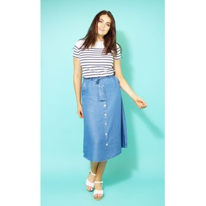 Twist Fine Blue Button Up Skirt