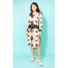 Pamela Scott Cream & Black Hermes Pattern Print Dress