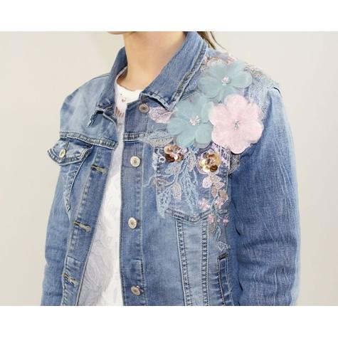 Ever Bloom Embroidery Detail Denim Jacket