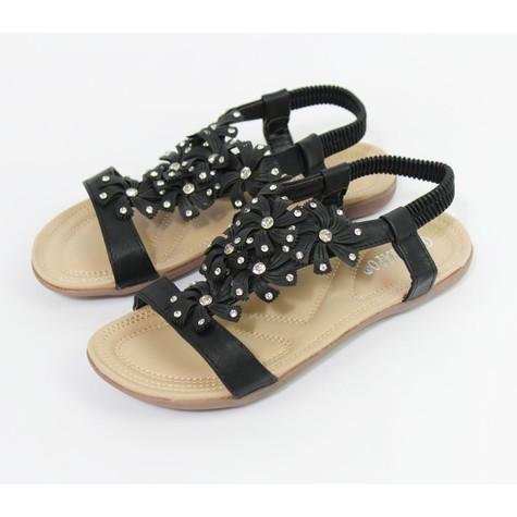 Pamela Scott Black Floral Detail Sandals