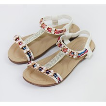 Pamela Scott White Diamante Detail Flat Sandals
