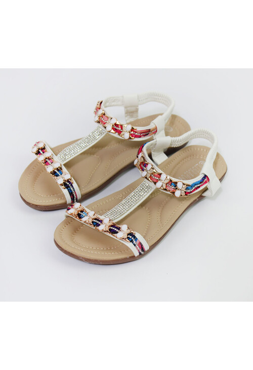 Pamela Scott White Diamante Detail Flat Sandals