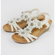 Pamela Scott White Floral Detail Strap Wedge Sandals