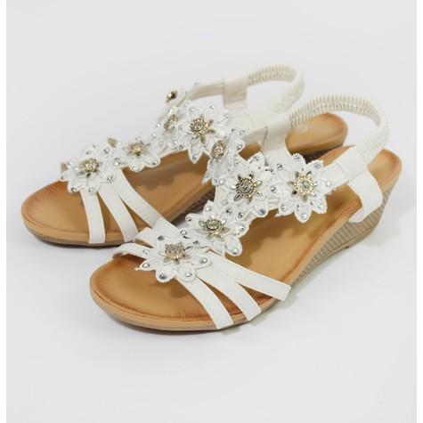 Pamela Scott White Floral Detail Strap Wedge Sandals