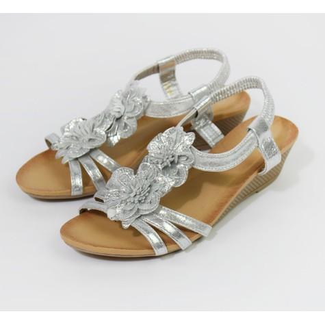 Pamela Scott Metallic Silver Floral Detail Wedge Sandals