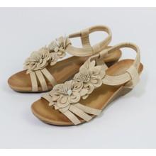 Pamela Scott Beige Floral Wedge Sandal