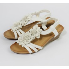Pamela Scott White Floral Detail Wedge Sandal