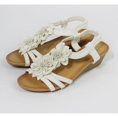Pamela Scott White Floral Detail Wedge Sandal