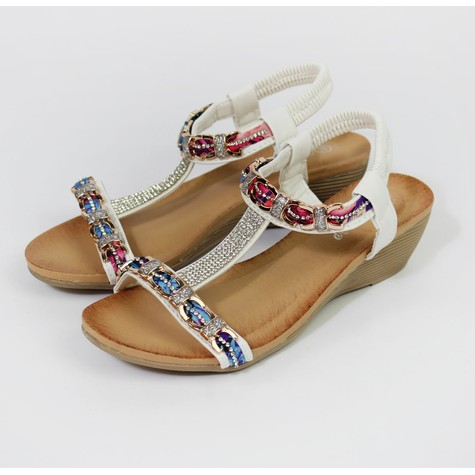 Pamela Scott White Jewel Detail Sandals