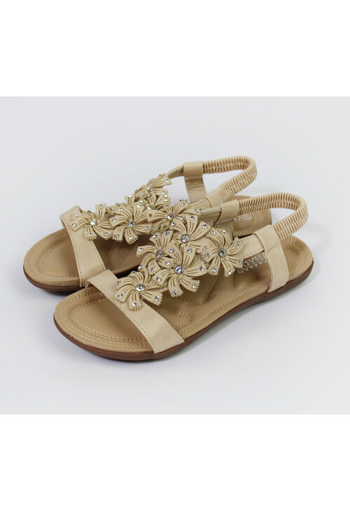 Pamela Scott Beige Floral Detail Flat Sandal