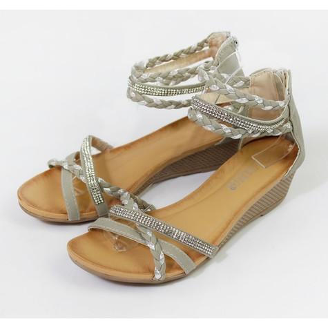 Pamela Scott Grey Strap Diamante Wedge Sandal