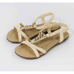 Pamela Scott Beige Pearl Detail Flat Sandals