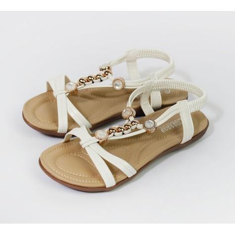 Pamela Scott White Pearl Detail Sandals