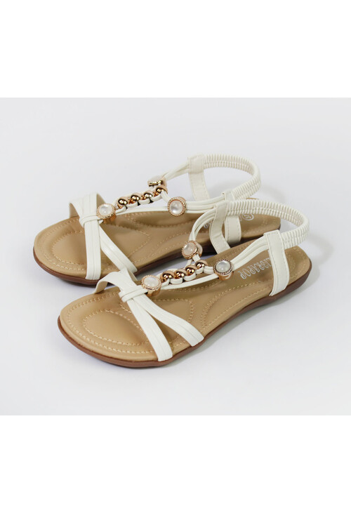 Pamela Scott White Pearl Detail Sandals