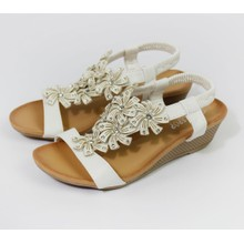 Pamela Scott White Flower Pattern Wedge Sandals