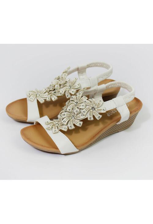 Pamela Scott White Flower Pattern Wedge Sandals