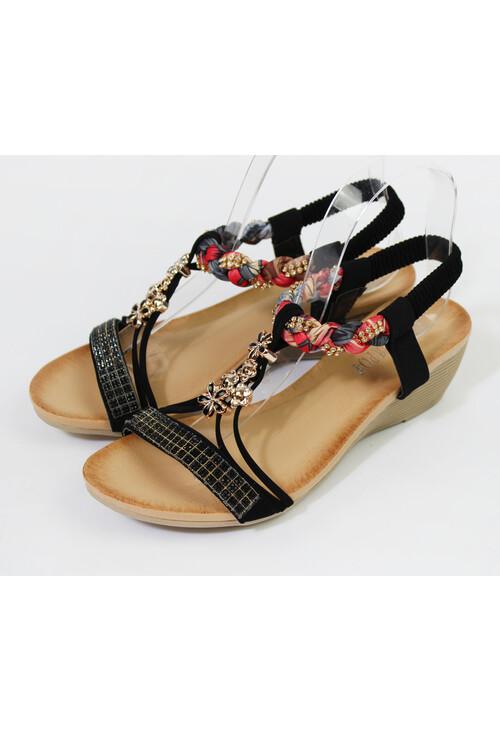 Pamela Scott Black Strap & Diamante Wedge Sandal