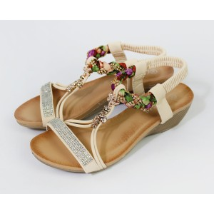 Pamela Scott Beige Flower Detail Wedge Sandal