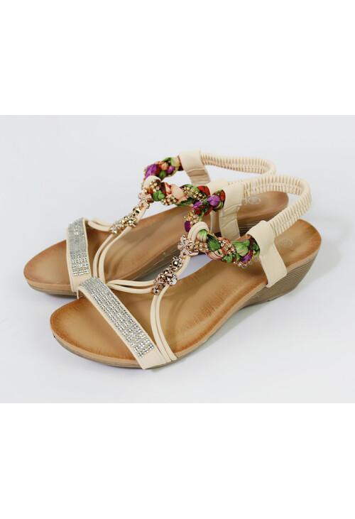 Pamela Scott Beige Flower Detail Wedge Sandal