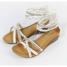 Pamela Scott White & Silver Diamante Wedge Sandal