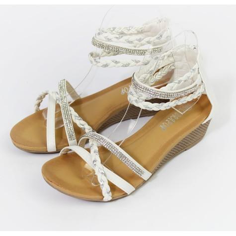 Pamela Scott White & Silver Diamante Wedge Sandal