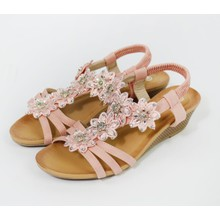 Pamela Scott Beige Flower & Diamante Detail Wedge Sandal