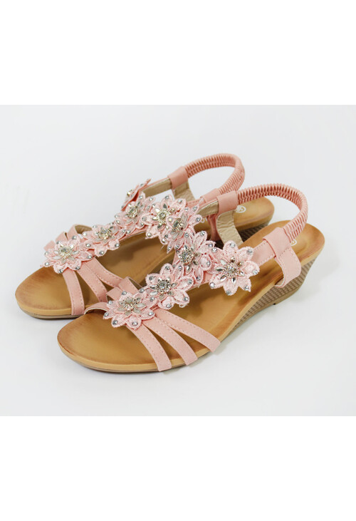 Pamela Scott Beige Flower & Diamante Detail Wedge Sandal