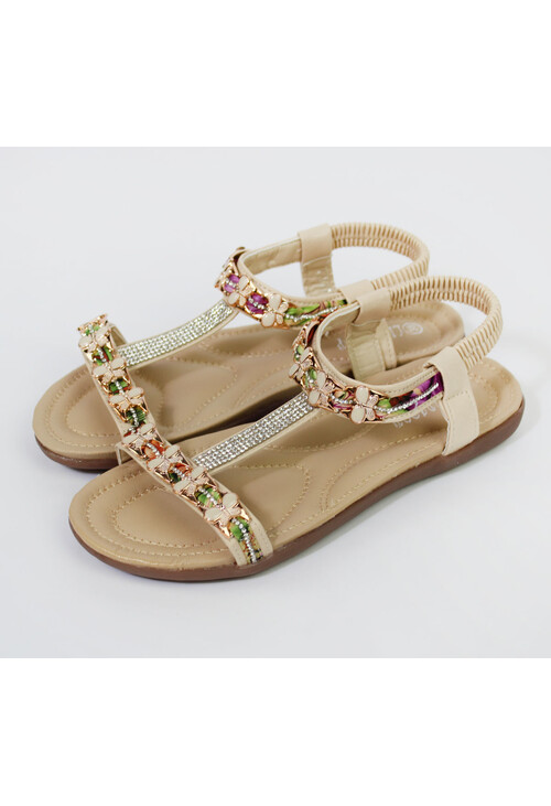 Pamela Scott Beige Butterfly Jewel Detail Sandals