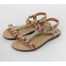 Pamela Scott Champagne Glitter Diamante Detail Sandals