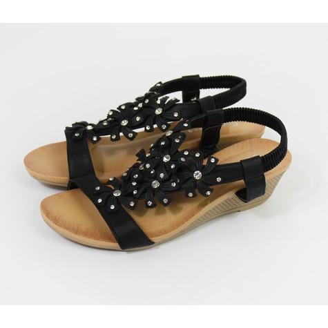 Pamela Scott Black Flower & Diamante Detail Wedge Sandals