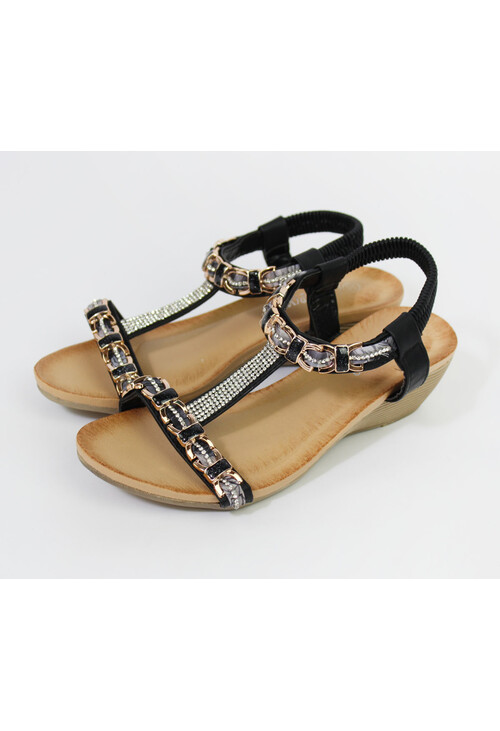 Pamela Scott Black Diamante Detail Sandals