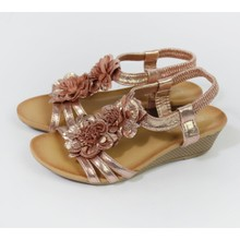 Pamela Scott Champagne Metallic Floral Detail Wedge Sandals