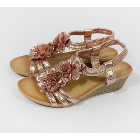 Pamela Scott Champagne Metallic Floral Detail Wedge Sandals