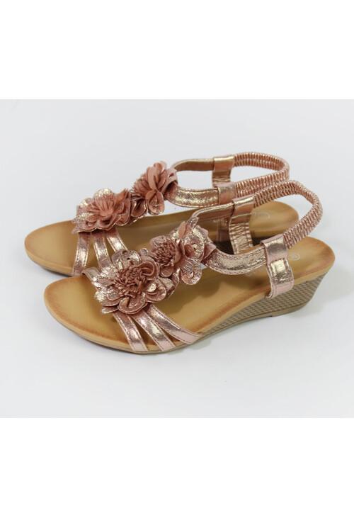 Pamela Scott PINK Metallic Floral Detail Wedge Sandals