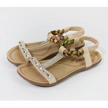 Pamela Scott Beige Diamante Flat Sandal