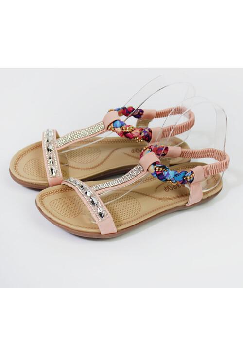 Pamela Scott Pink & Diamante Flat Sandal